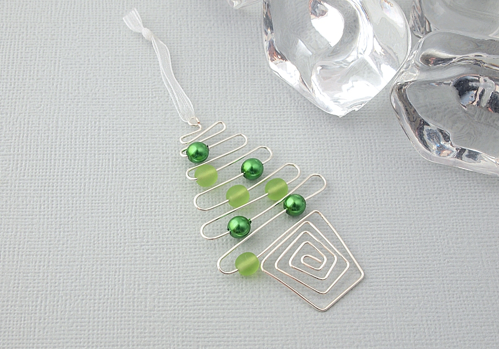 Green Christmas Tree Wire Decoration By Ciel Creations