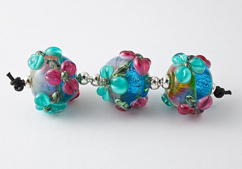 Teal Flower Lampwork Beads by Ciel Creations