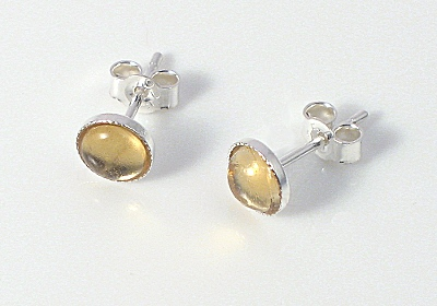 5mm Citrine Sterling Silver Stud Earrings