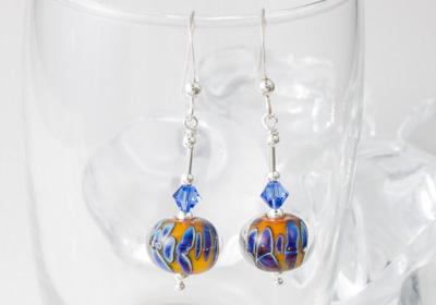 """""""Carnival"""" Lampwork Earrings"""