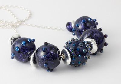 Purple Glitter Lampwork Necklace