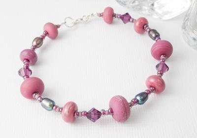 Stone Tumbled Pink Bracelet
