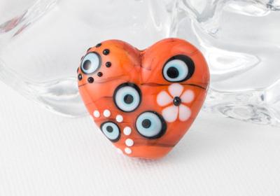 Orange Heart Lampwork Bead