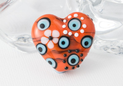 Sunset Lampwork Heart Bead
