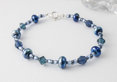 Metallic Blue Lampwork Bracelet