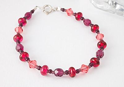 Cranberry Lampwork Bracelet
