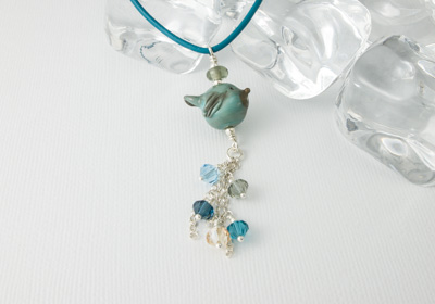 "Lampwork Necklace ""Blue Bird"""