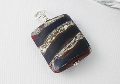 Stone Tumbled Lampwork Pendant