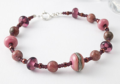 Rhodonite and Lampwork Bracelet