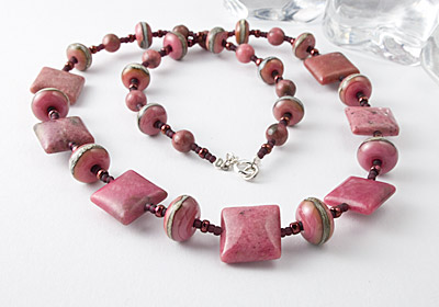 Rhodonite and Lampwork Necklace