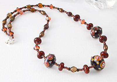Amber Lampwork Necklace