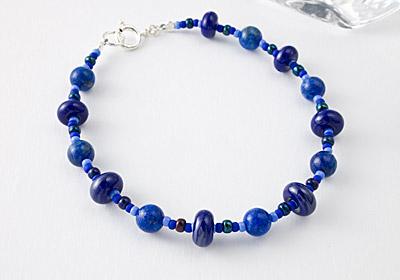 Lapis Lazuli and Lampwork Bracelet