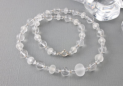 """Ice Quartz"" Gemstone and Lampwork Necklace"