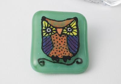 Fused Owl Brooch