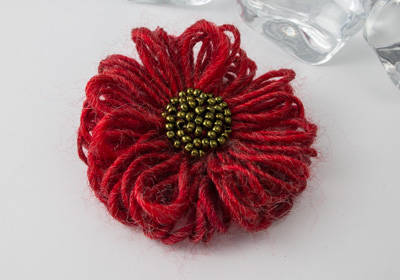 Red Flower Brooch