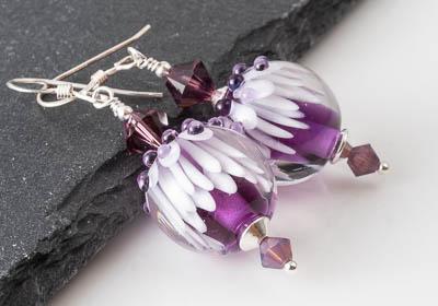 Purple Aster Lampwork Earrings
