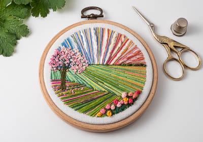 Cherry Tree - Landscape Embroidery Hoop Art