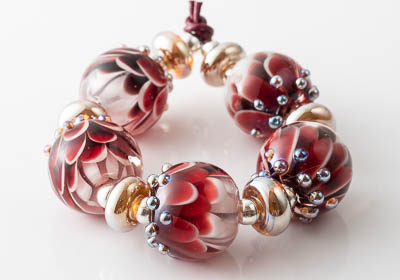 Ruby Lampwork Dahlia Bead Set