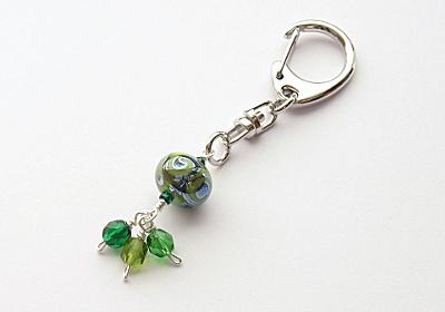 Green Lampwork Handbag Charm