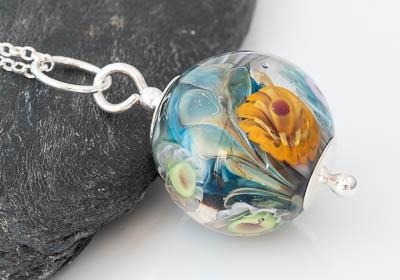 Flower Lampwork Pendant Necklace