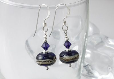 Dark Purple Lampwork Earrings