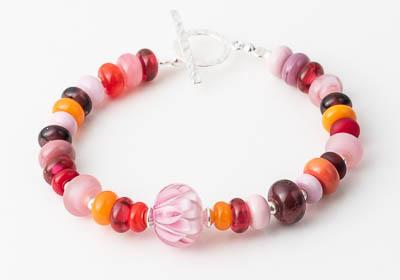 Pink Lampwork Bracelet