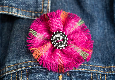 Harris Tweed Flower Brooch