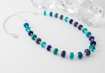 """""""Cool Breeze"""" Lampwork and Silver Necklace"""