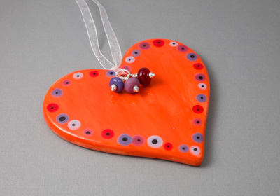 Orange Ceramic Heart Hanging