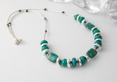 Turquoise and Lampwork Necklace