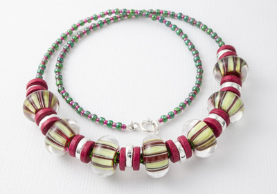 Striped Pink and Green Necklace