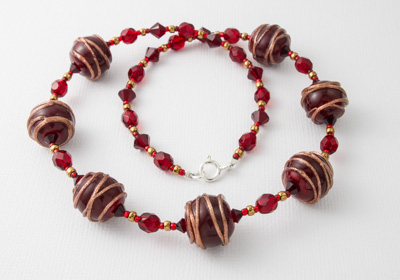Red and Gold Lampwork Necklace