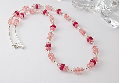 Cherry Quartz and Lampwork Necklace