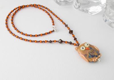 Brown Owl Lampwork Bead