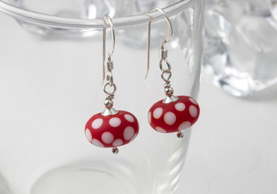 Red Spotty Lampwork Earrings