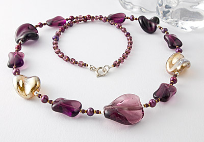 Amethyst Lampwork and Pearl Necklace
