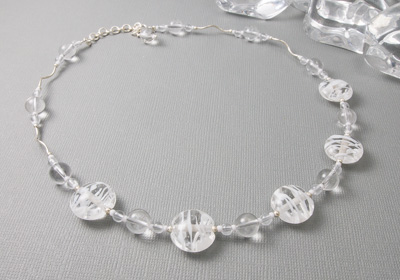 """Ice"" Lampwork and Silver Necklace"
