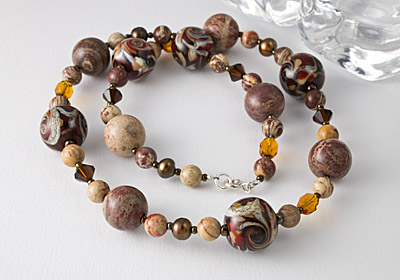 Lampwork and Silver Riban Jasper Necklace