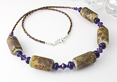 "Beaded Lampwork Necklace ""Purple Stone"""