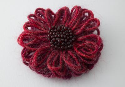 Pinky Red Flower Brooch