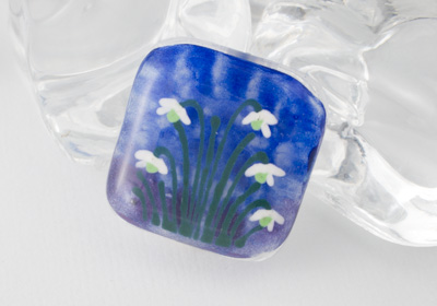 Snowdrop Fused Glass Brooch