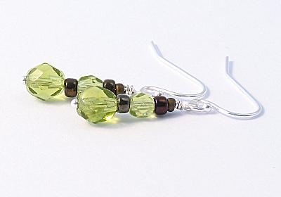 Olive Green Sterling Silver Earrings