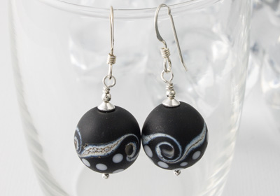 Black and White Silver Earrings