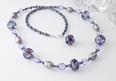 "Lampwork Necklace ""Silver Light"""