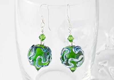 Green Wiggle Lampwork Earrings