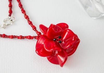 Red Lampwork Rose Necklace
