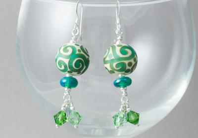 Green Swirl Lampwork Earrings