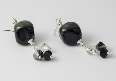 Black Lampwork Earrings