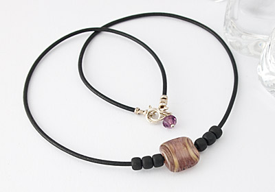 Purple Lampwork Bead Necklace