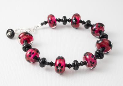 Pink and Black Bracelet